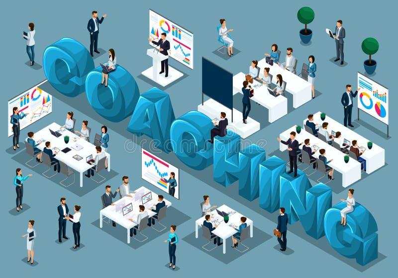 Isometrische 3d Geschäftsmänner, Konzept des Ausbildungspersonals, Trainer unterrichtet Bedarfs-, Personal am Vortrag, große Wort vektor abbildung