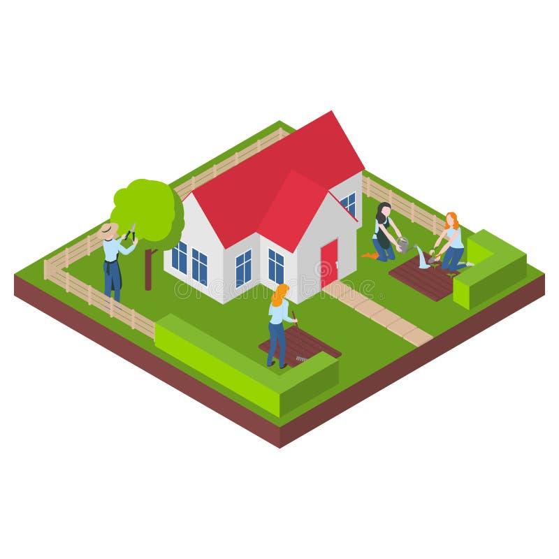 Isometrische 3d huis, de bouw en werf Onroerende goederen architectuur met tuin De vrouwen bewerken en tuinieren stock illustratie