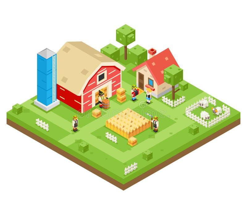 Isometrische 3d Lowpoly Ikone Real Estate des Dorf-Landwirtschafts-Bauernhof-ländlichen Wohnungsbau-arbeiten Symbol-Wiesen-Hinter lizenzfreie abbildung
