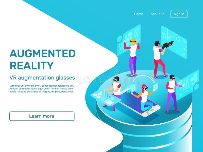 Isometrische 3d mensen die en bij de vergrote mobiele gadgets van de werkelijkheidshoofdtelefoon leren werken VR de vector van ve stock illustratie