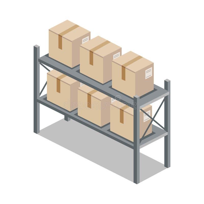Isometrische 3d Plank met Beeldverhaaldoos royalty-vrije illustratie