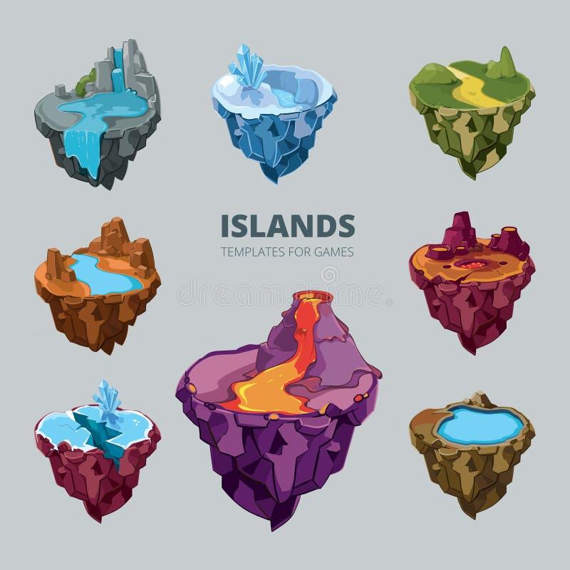 Isometrische 3d reeks vliegende eilanden vector illustratie