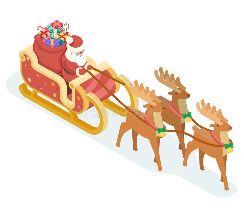 Isometrische 3d Santa Claus Grandfather Frost Sleigh Reindeer-van het Nieuwjaarkerstmis van de Giftenzak van het het Ontwerppicto royalty-vrije illustratie