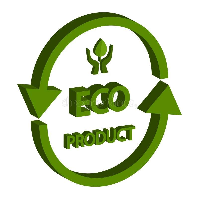 Isometrische 3D van het Ecoproduct, geïsoleerd op witte achtergrond royalty-vrije stock fotografie