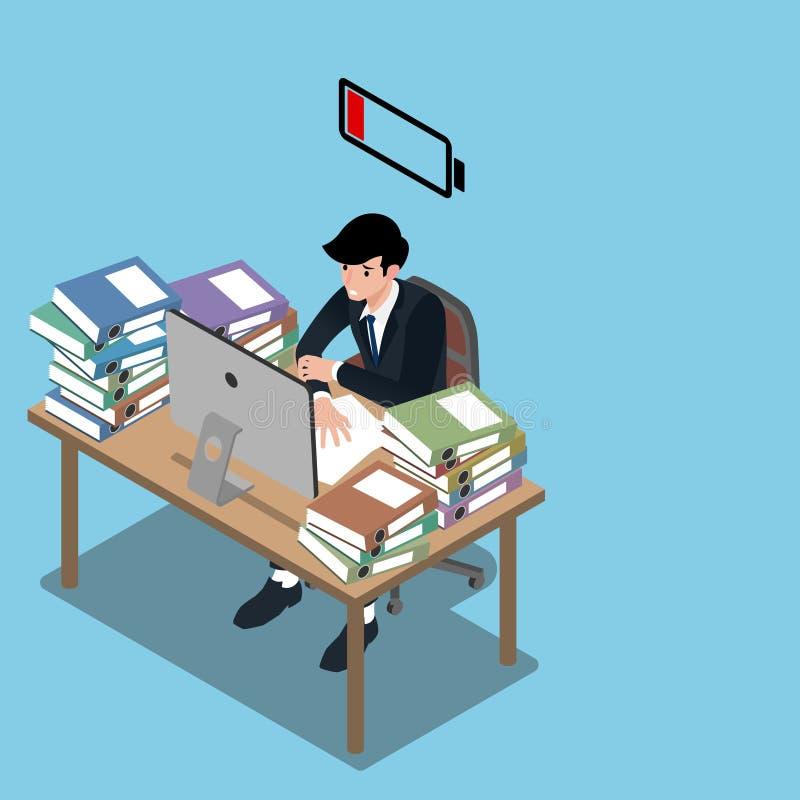 Isometrische 3d van zakenman die zeer hard en gaand uitputten en voelen als hij werkt zal uit batterijen lopen vlakke illustratie vector illustratie