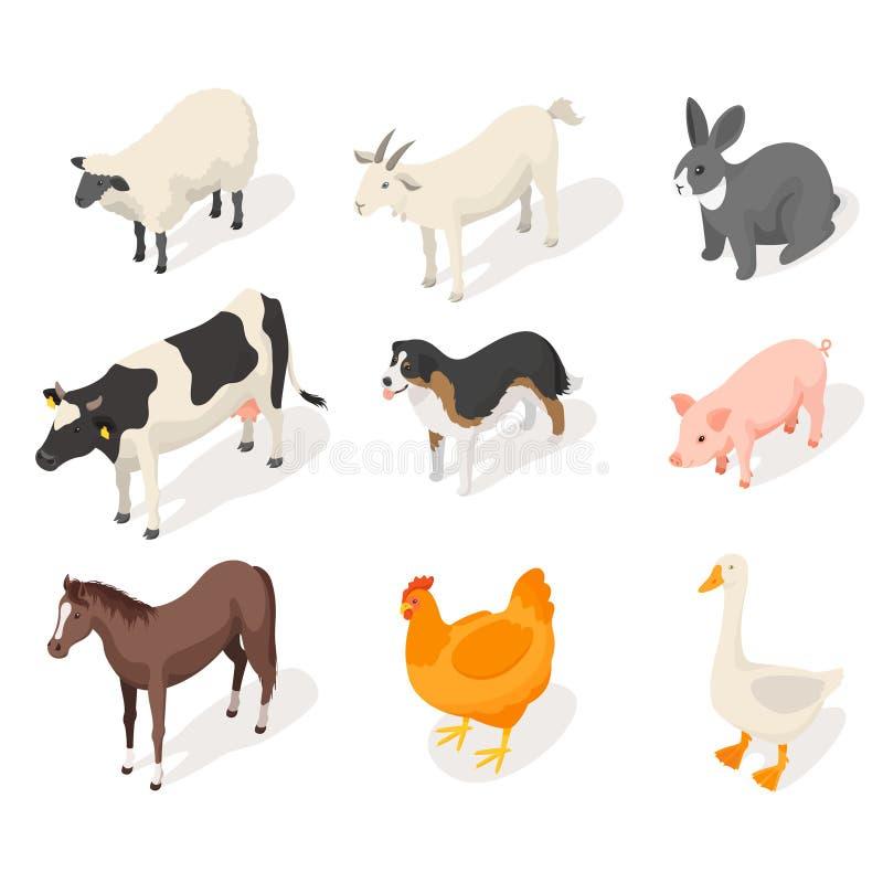 Isometrische 3d vectorreeks landbouwbedrijfdieren vector illustratie