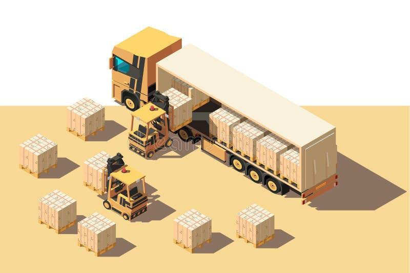 Isometrische 3d verzendingsvrachtwagen met vorkheftruck en doos voor zich levering het bewegen stock illustratie