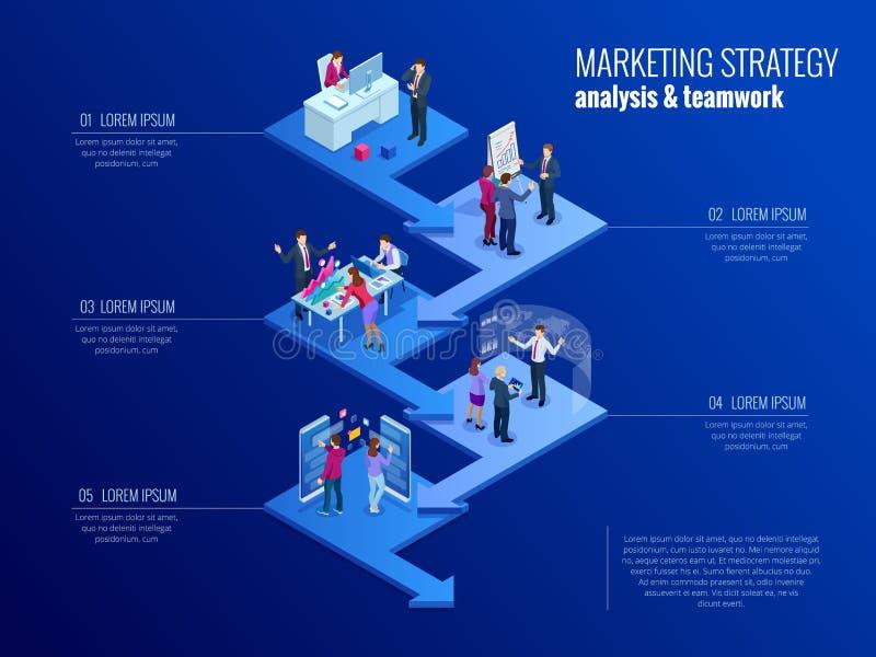 Isometrische Darstellungsgeschäft infographics Schablone mit 5 Wahlen Sichtbarmachung der kommerziellen Daten, digitales Marketin lizenzfreie abbildung