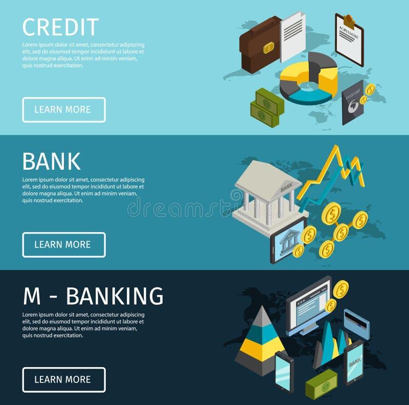 Isometrische de Bannerreeks van ATM stock illustratie