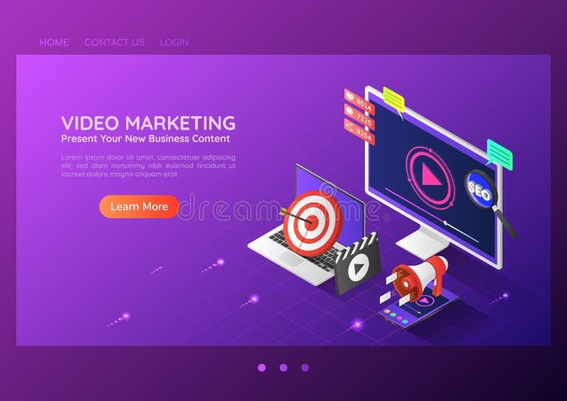Isometrische de inhoud van de Webbanner online video marketing reclame royalty-vrije illustratie
