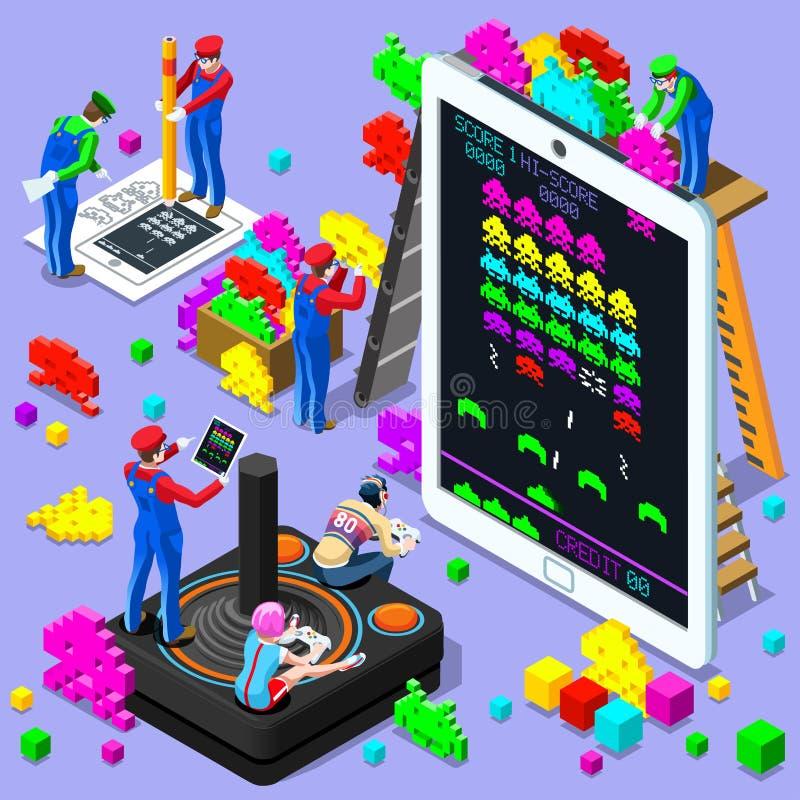 Isometrische de Mensen Vectorillustratie van het videospelletje Retro Gokken vector illustratie