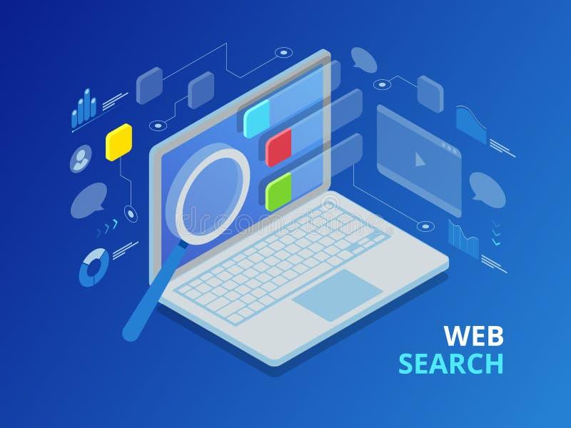 Isometrische de pagina vlakke vector van het zoekmachineresultaat stock illustratie