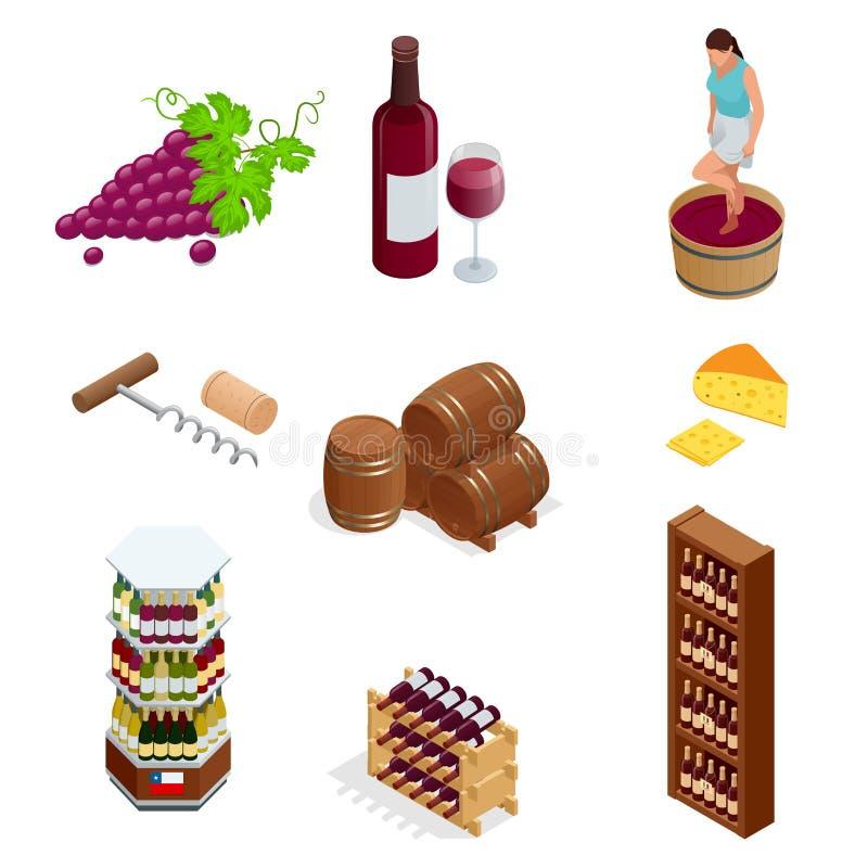 Isometrische de pictogrammeninzameling van de wijnproductie Vector illustratie op witte achtergrond royalty-vrije illustratie