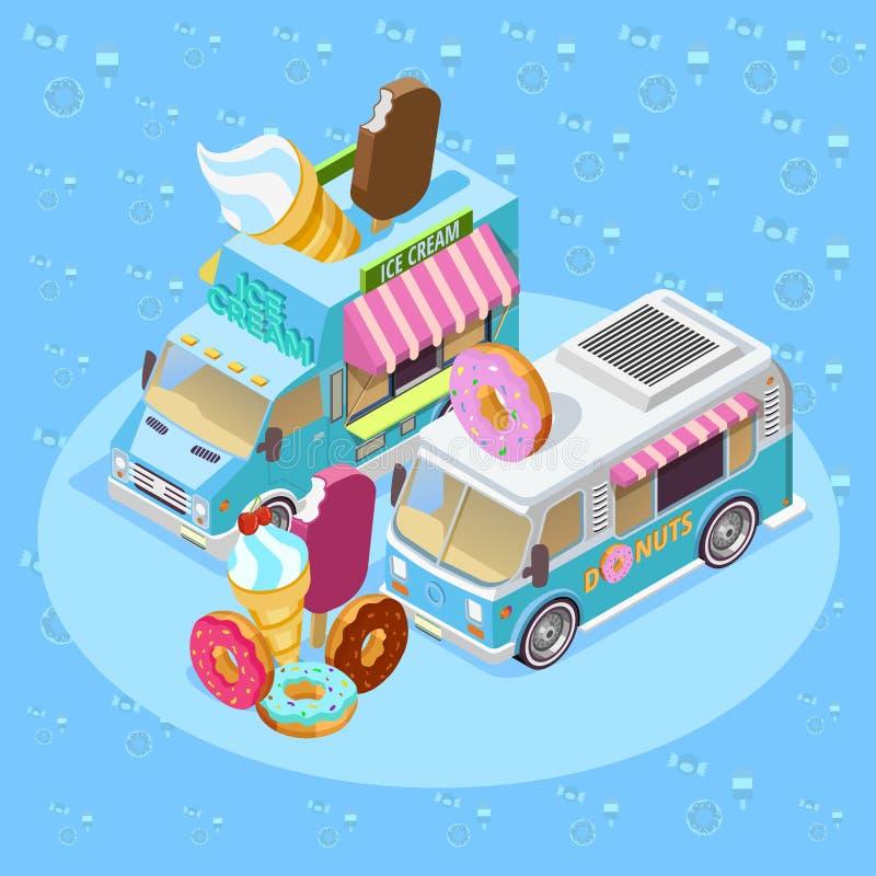 Isometrische de Samenstellingsaffiche van voedselvrachtwagens vector illustratie