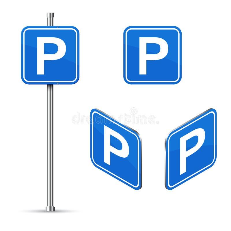 Isometrische de verkeersteken van de parkerenplaats stock illustratie
