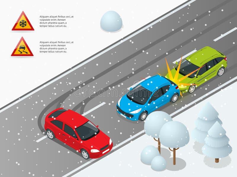 Isometrische de winter gladde weg, autoongeval De auto berijdt op een gladde weg De trein is op de post kan worden gebruikt voor vector illustratie