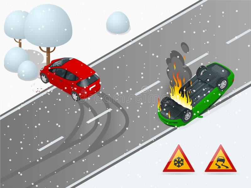 Isometrische de winter gladde weg, autoongeval De auto berijdt op een gladde weg De auto verpletterde in een boom, de auto stock illustratie