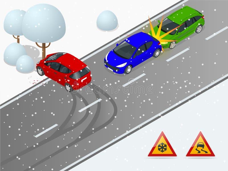 Isometrische de winter gladde weg, autoongeval De auto berijdt op een gladde weg De auto verpletterde in een boom Stedelijk vector illustratie