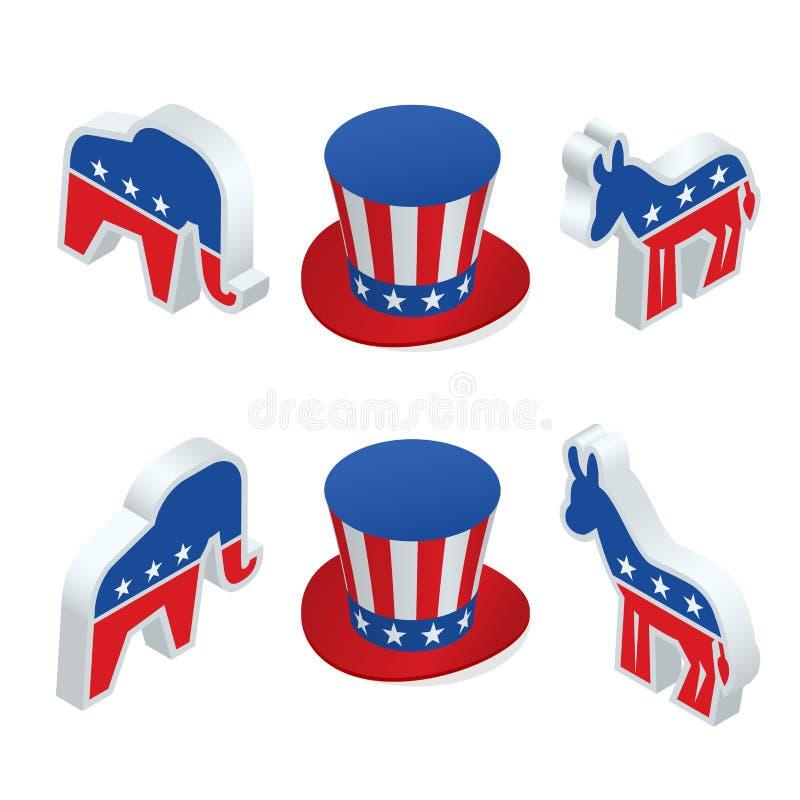Isometrische democraatezel en de republikeinse olifant vector illustratie