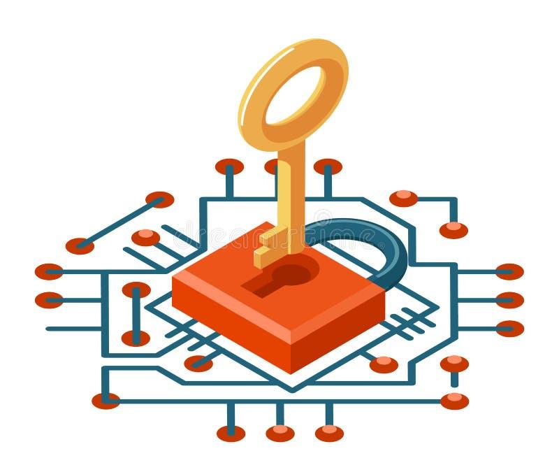 isometrische der Schlüssel-Sicherheitstechnik des Netzes 3d Cyberschutzikonen-Vektorillustration Internet digitale lizenzfreie abbildung