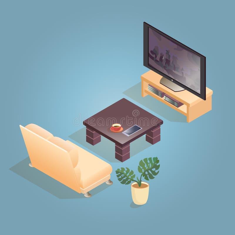 Isometrische die beeldverhaalbank, TV, pictogram op blauw wordt geïsoleerd vector illustratie