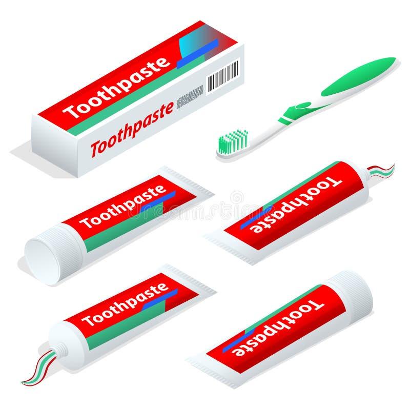 Isometrische die deeg of geltandpasta met een tandenborstel als toebehoren wordt gebruikt om de esthetica en de gezondheid schoon vector illustratie