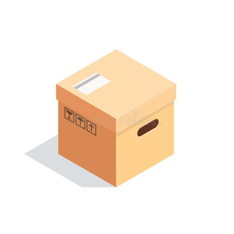 Isometrische die doos op witte achtergrond wordt geïsoleerd vector illustratie