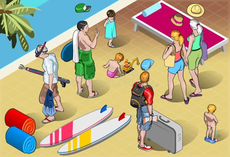 Isometrische die Toeristenvolkeren bij Toevlucht worden geplaatst royalty-vrije illustratie