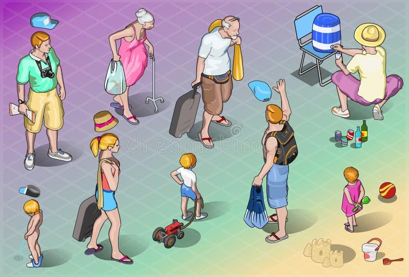 Isometrische die Toeristenvolkeren in Vakantie worden geplaatst stock illustratie