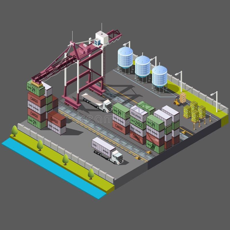 Isometrische die vector met bouwkraan wordt geplaatst voor lading stock illustratie