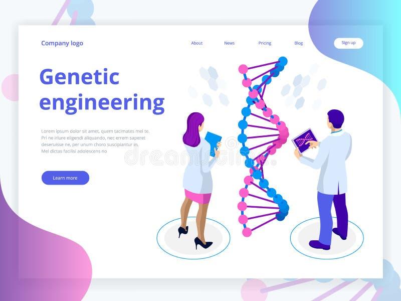 Isometrische Digitale DNA-structuur op blauwe achtergrond Retro laboratoriummateriaal en boeken dichtbij verlichtingskaarsen op d vector illustratie