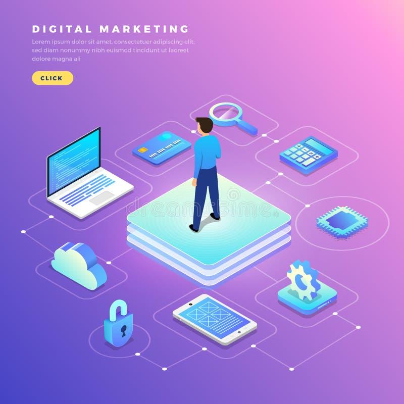 Isometrische digitale marketing royalty-vrije illustratie