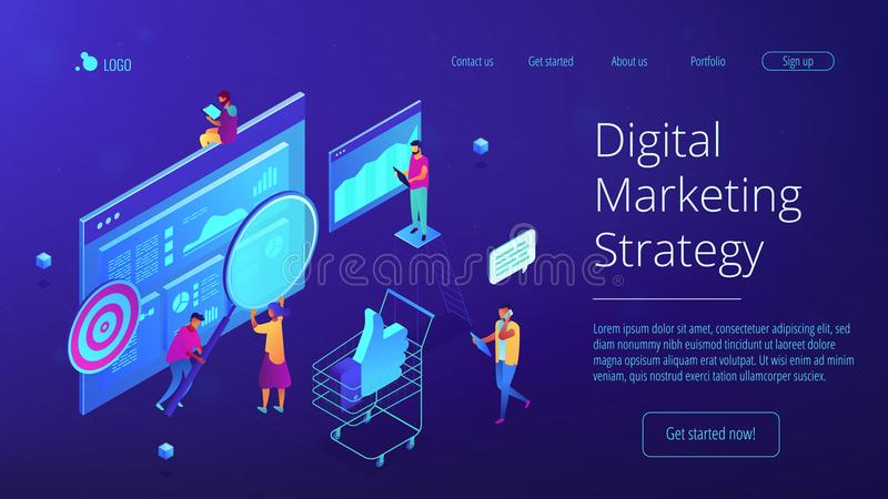 Isometrische digitale marketing strategie landende pagina stock illustratie