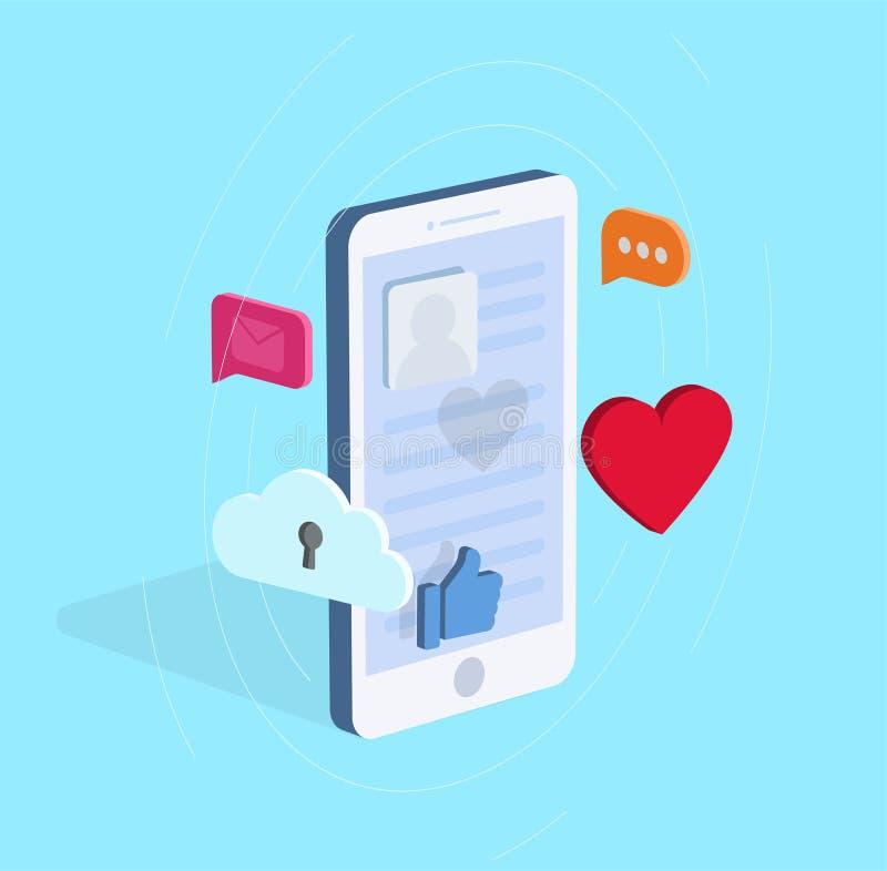 Isometrische diverse pictogrammen van de smartphoneillustratie wirh van sociale media en mededeling vector illustratie