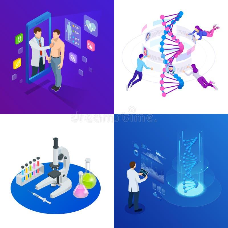 Isometrische DNA-schroef, DNA die concept analyseren Digitale blauwe achtergrond Innovatie, geneeskunde, en technologie royalty-vrije illustratie
