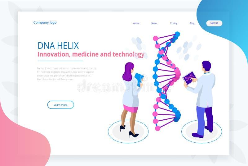 Isometrische DNA-schroef, DNA die concept analyseren Digitale blauwe achtergrond Innovatie, geneeskunde, en technologie Webpagina royalty-vrije illustratie