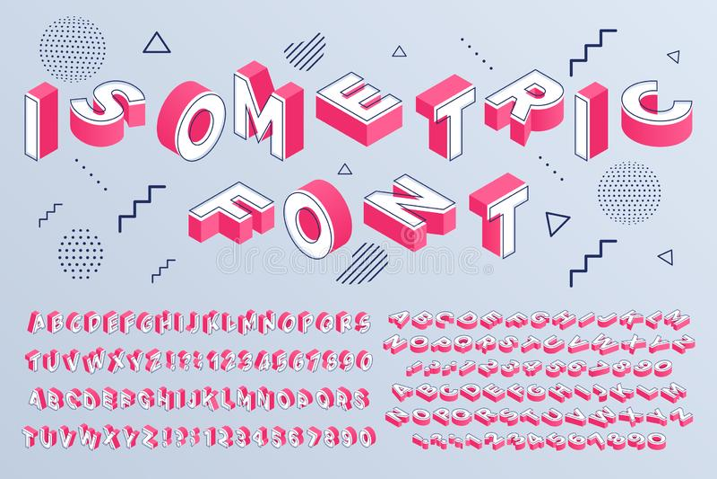 Isometrische doopvont Geometrische de blokken van alfabet 3d brieven kubieke en van perspectiefaantallen teken vectorreeks royalty-vrije illustratie