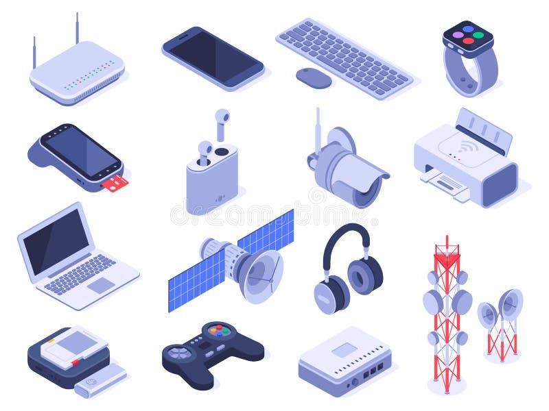 Isometrische drahtlose Apparate Computer schließen Geräte, Fernprüfer der drahtlosen Verbindung und Vektor des Routergerätes 3d a stock abbildung