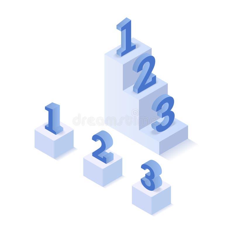 Isometrische drei Schritte vektor abbildung