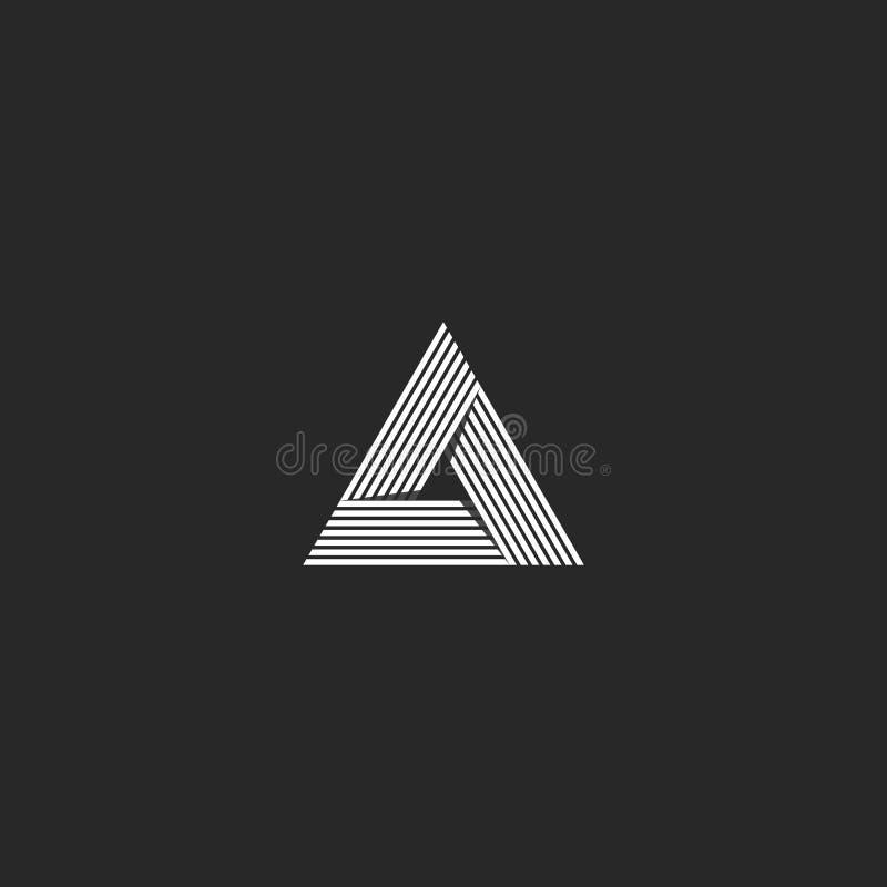 Isometrische driehoeks het embleem, geometrische de vormillusie van de oneindigheids scherpe hoek, hipster monogram komt overlapp royalty-vrije illustratie