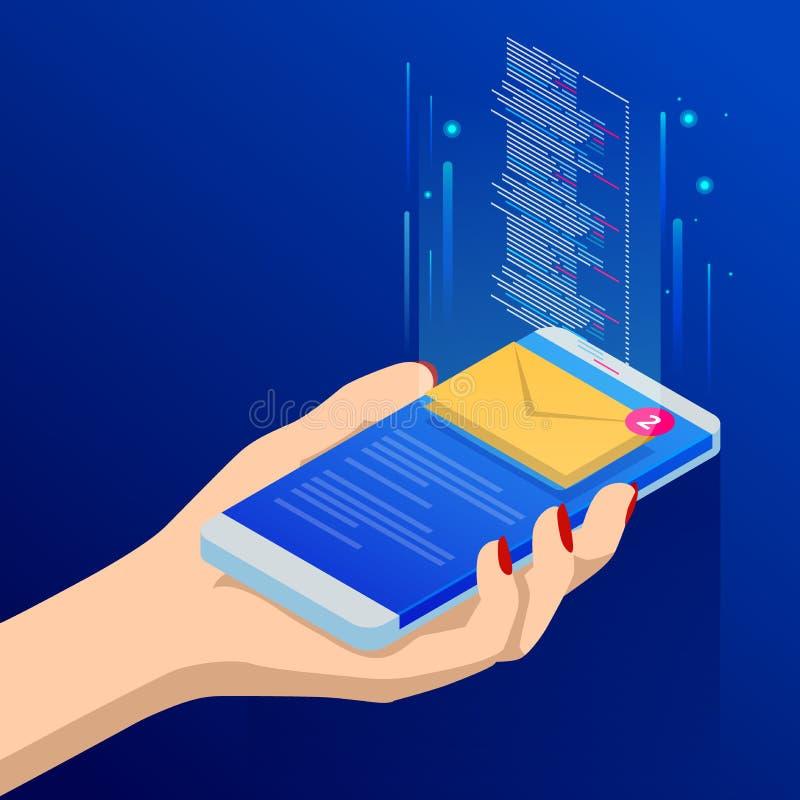Isometrische e-mail of sms app op het smartphonescherm Het nieuwe bericht wordt ontvangen Vrouwelijke vingers wat betreft smartph stock illustratie