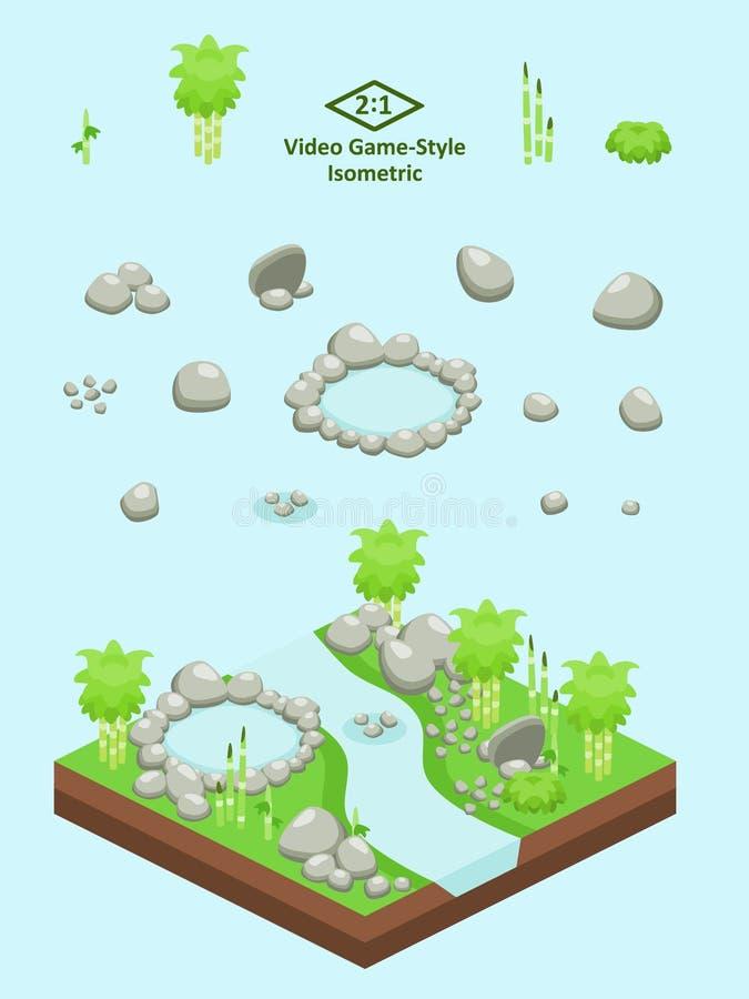Isometrische Eenvoudige Geplaatste Rotsen - Bamboe Forest Rocks en Vijver stock illustratie