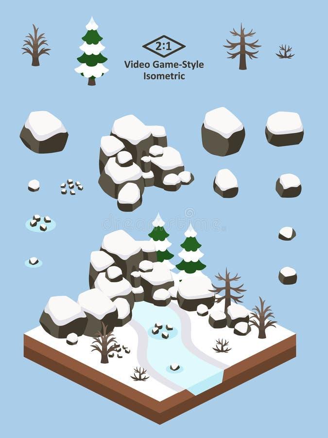 Isometrische Eenvoudige Geplaatste Rotsen - Boreaal Forest Rock Formation Winter stock illustratie