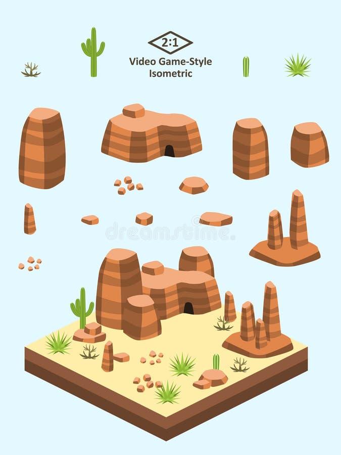 Isometrische Eenvoudige Geplaatste Rotsen - de Amerikaanse de Vormingsherfst van de Woestijnrots stock illustratie