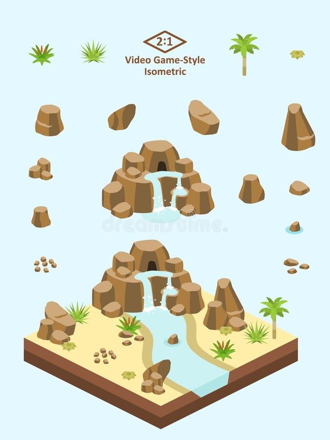 Isometrische Eenvoudige Geplaatste Rotsen - de Arabische/Saharan Vorming van de Woestijnrots royalty-vrije illustratie