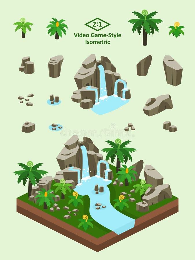 Isometrische Eenvoudige Geplaatste Rotsen - Voorhistorisch Forest Rock Formation royalty-vrije illustratie