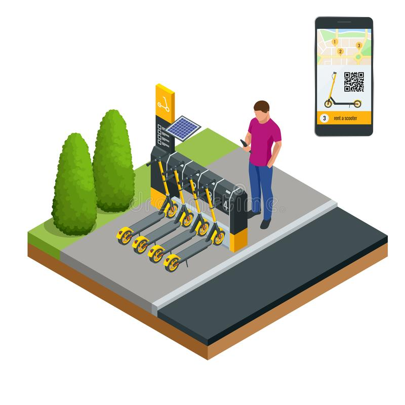 Isometrische elektrische Roller für Miete an der Stations- und Kassierermaschine für Zahlung Bewegliche Anwendung am Telefon für stock abbildung