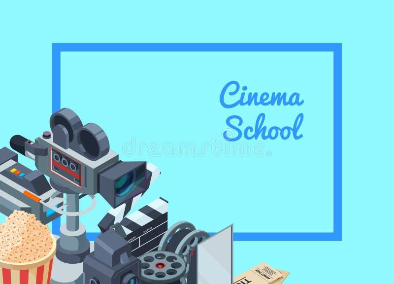 Isometrische Elemente der Vektorfilmkamera der gesetzten Hintergrundillustration lizenzfreie abbildung