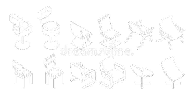 Isometrische Entwurfsstühle eingestellt Stange, Bürostuhl lizenzfreie abbildung