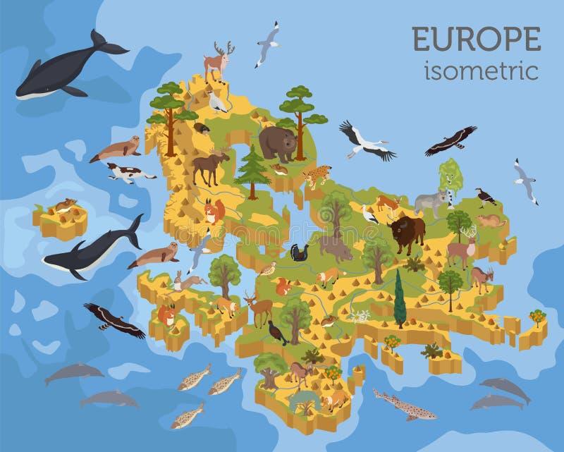 Isometrische europäische Flora 3d und Fauna zeichnen Erbauerelemente auf lizenzfreie abbildung